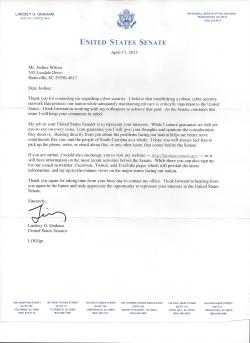 Form Letter from Senator Lindsey Graham (R-SC)