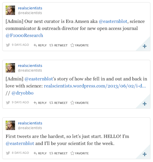 Storify of Eva's Tweets for @RealScientists