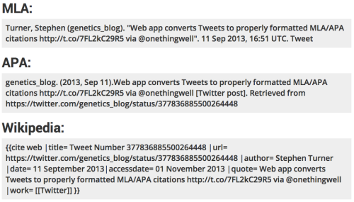 Screenshot of citations for Stephen Turner's tweet about Tweet2Cite generated using Tweet2Cite