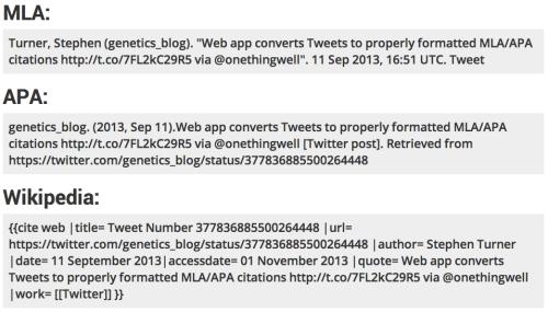 Screenshot of citations for Stephen Turner's tweet about Tweet2Cite generated using Tweet2Cite