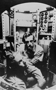 Walsh and Piccard in their sub, on the way to Mariana.