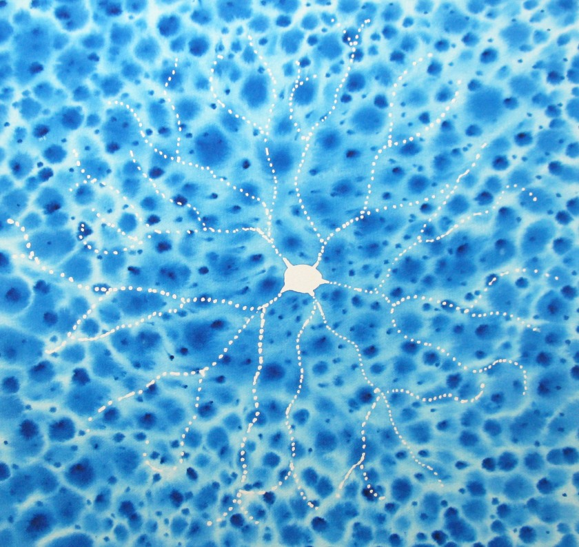 Blue Batik Retinal Neuron, watercolor on paper, 2015 (All Rights Reserved; Used with Permission)