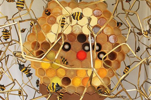 Detail from Kelly Heaton, The Beekeeper, 2015. Kinetic sculpture made with steel, cast resin, brass, electronics, wood and paint.